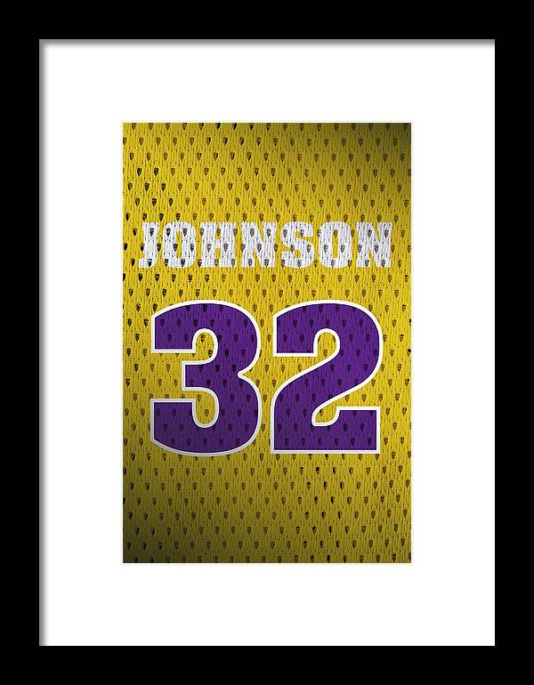 official photos 71d03 52ee7 Magic Johnson Los Angeles Lakers Number 32 Retro Vintage Jersey Closeup  Graphic Design Framed Print