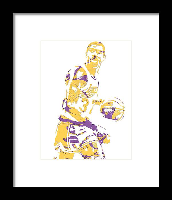 a8c5ab1e9 Magic Johnson Framed Print featuring the mixed media Magic Johnson Los  Angeles Lakers Pixel Art 6