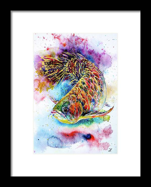 Arowana Framed Print featuring the painting Magic of Arowana by Zaira Dzhaubaeva