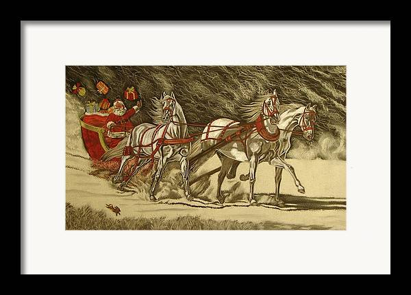 Horse Framed Print featuring the drawing Magical Christmas by Melita Safran