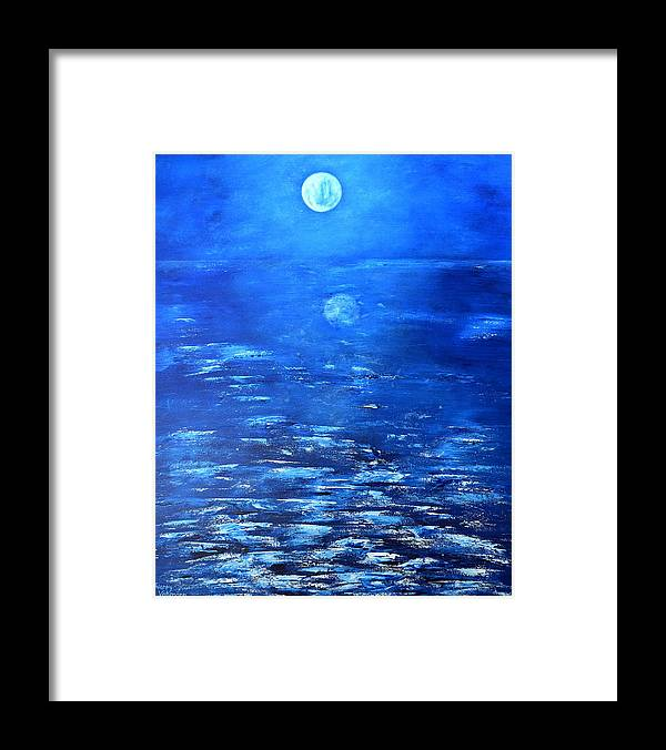 Seascape Framed Print featuring the painting Magical Full Moon by Thierry Vobmann