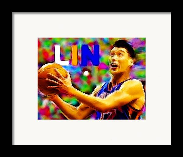 New York Framed Print featuring the digital art Magical Jeremy Lin by Paul Van Scott