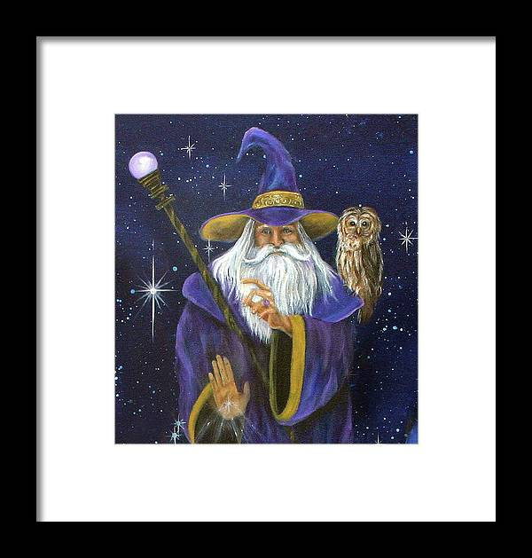 Merlin Framed Print featuring the painting Magical Merlin by Sundara Fawn