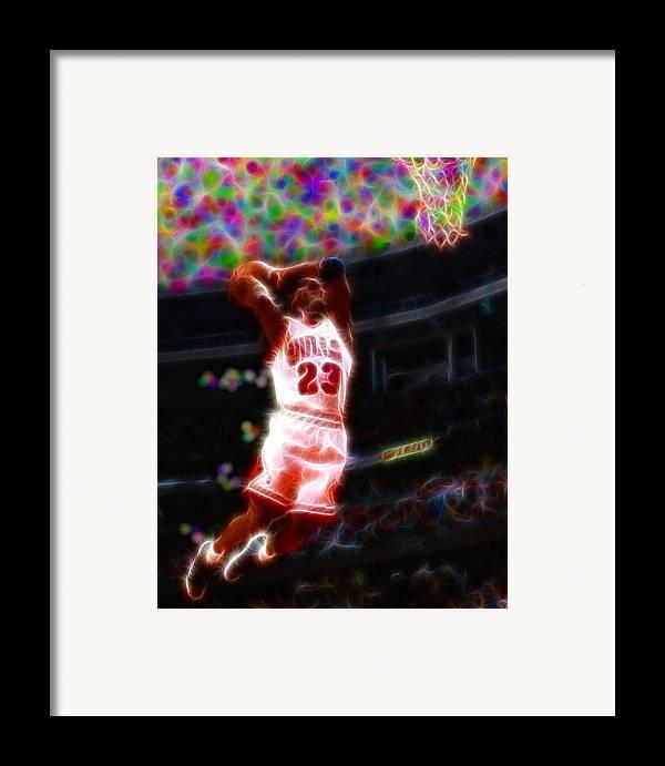 Michael Jordan Framed Print featuring the painting Magical Michael Jordan White Jersey by Paul Van Scott