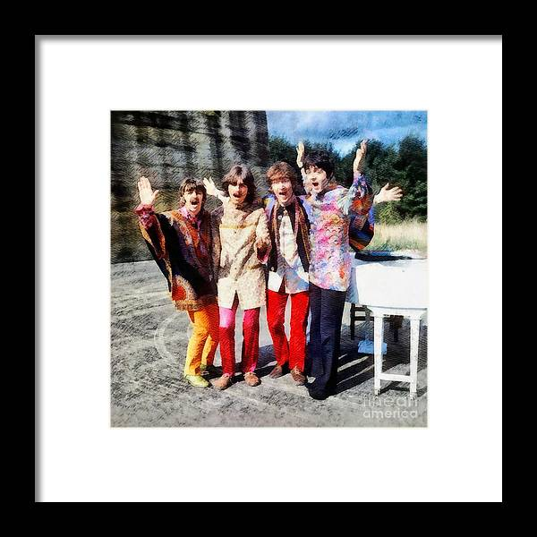 Hollywood Framed Print featuring the painting Magical Mystery Tour, The Beatles by Esoterica Art Agency
