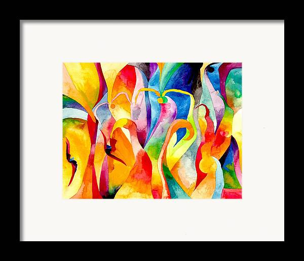Swans Framed Print featuring the painting Magical Swans by Peter Shor