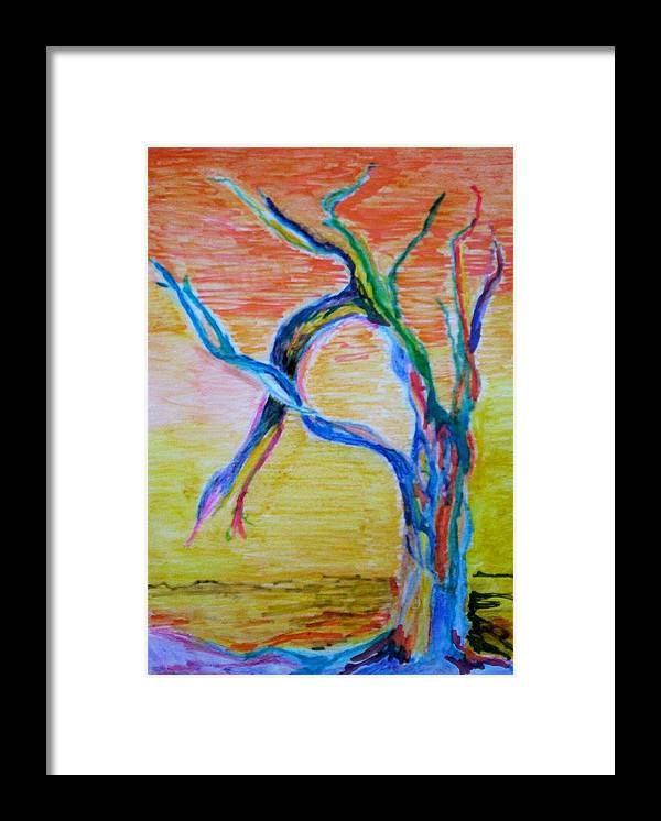 Abstract Painting Framed Print featuring the painting Magical Tree by Suzanne Udell Levinger