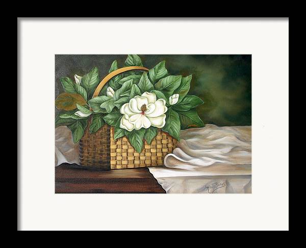 Flower Framed Print featuring the painting Magnolia Basket by Ruth Bares