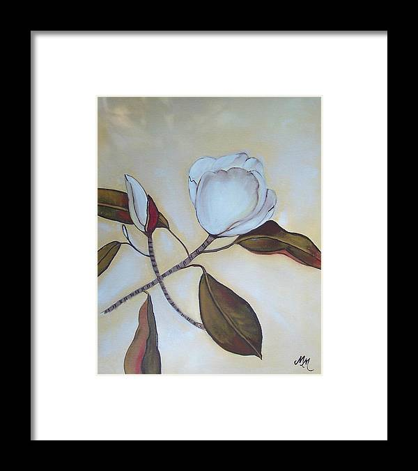 Flowers Framed Print featuring the painting Magnolia Bud by Martha Mullins
