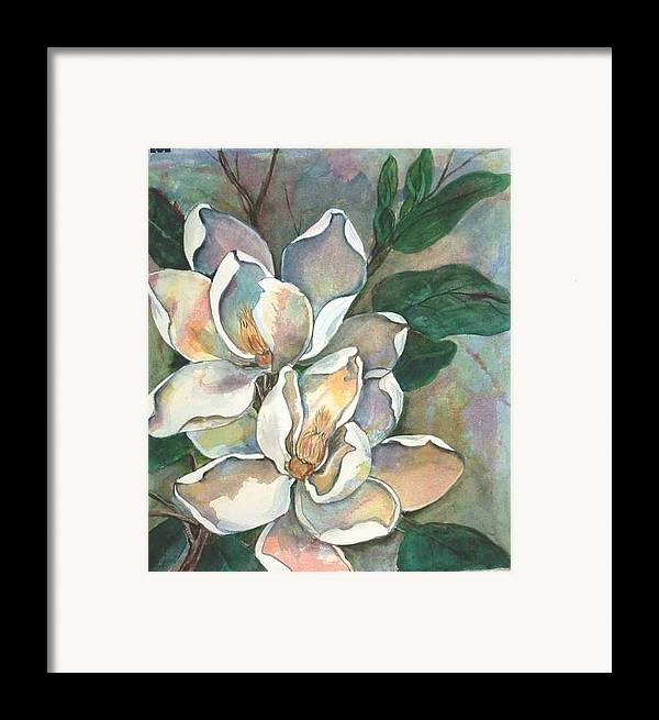 Watercolor Framed Print featuring the painting Magnolia Four by Diane Ziemski