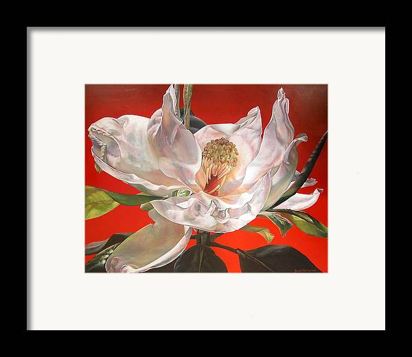 Floral Painting Framed Print featuring the painting Magnolia by Muriel Dolemieux
