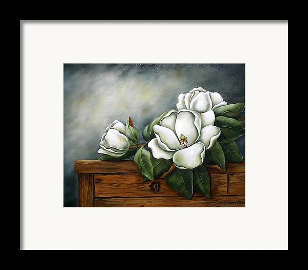 Floral Framed Print featuring the painting Magnolia On A Chest by Ruth Bares