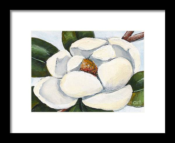 Floral Framed Print featuring the painting Magnolia On Blue by Elaine Hodges