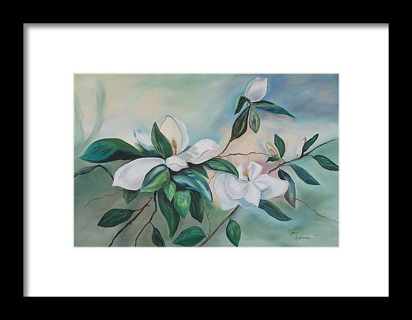 Flowers Framed Print featuring the painting Magnolia Summer by Margaret Fortunato
