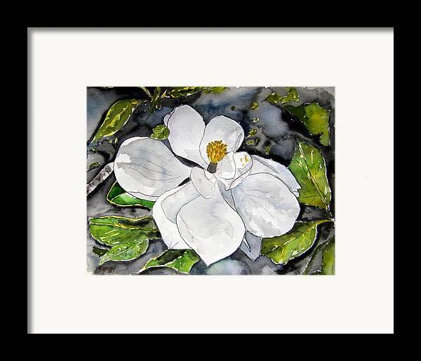 Magnolia Framed Print featuring the painting Magnolia Tree Flower by Derek Mccrea