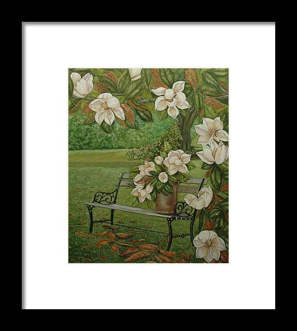Magnolia Framed Print featuring the painting Magnolia Tree by Tresa Crain