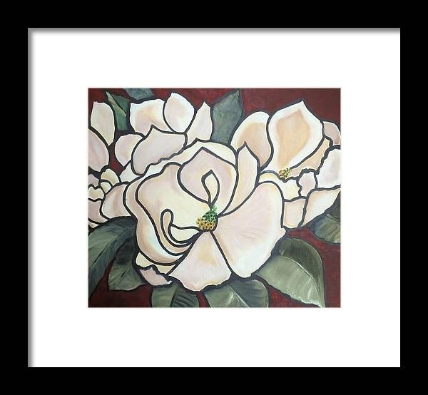Flowers Framed Print featuring the painting Magnolias Under Glass by Martha Mullins