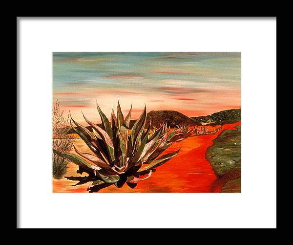 Landscape Framed Print featuring the painting Magueys At Sunset by Oudi Arroni