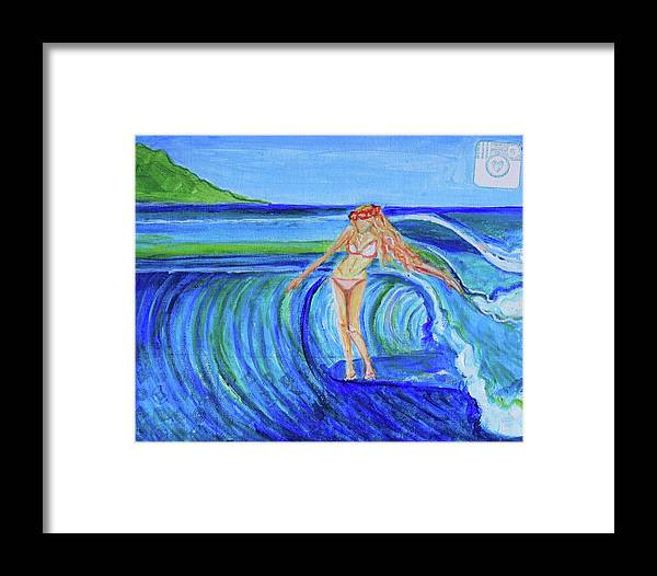 Surfer Framed Print featuring the painting Mahalo by Alexandra Talese