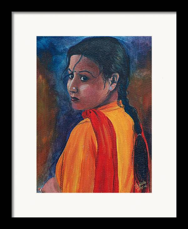 Maiden Framed Print featuring the painting Maiden Of Color by Sylvia Stone