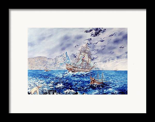 Tall Ships Framed Print featuring the painting Maiden Voyage by Richard Barham