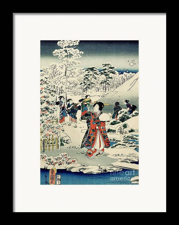 Maids In A Snow-covered Garden Framed Print featuring the painting Maids In A Snow Covered Garden by Hiroshige