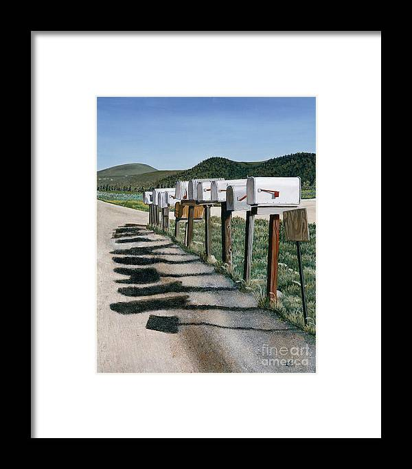 Mail Boxes Framed Print featuring the painting Mail Boxes by Jiji Lee
