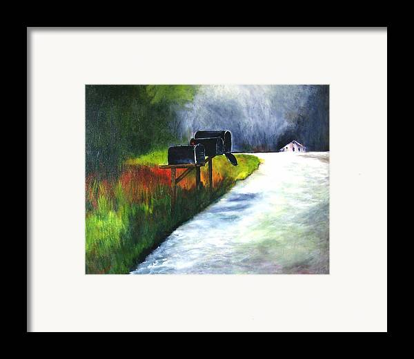 Landscape Framed Print featuring the painting Mail Call by Julie Lamons