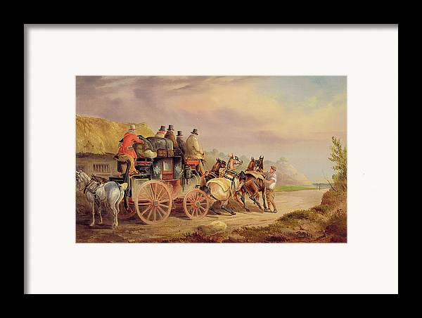 Mail Framed Print featuring the painting Mail Coaches On The Road - The 'quicksilver' by Charles Cooper Henderson
