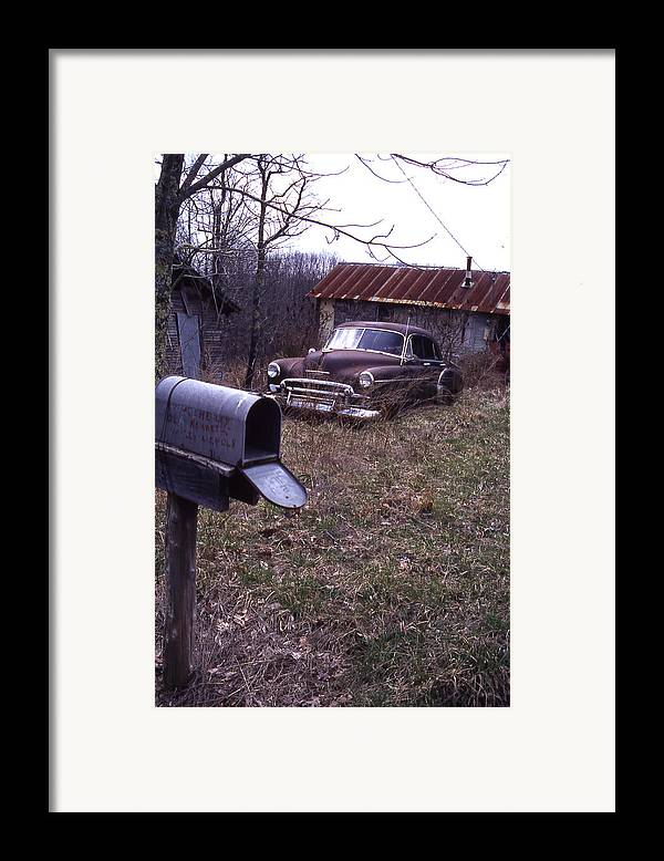 Framed Print featuring the photograph Mailbox Car by Curtis J Neeley Jr