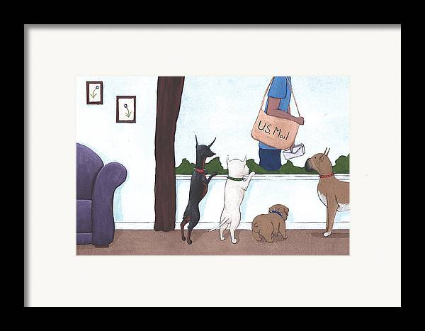 Dogs Framed Print featuring the painting Mailman by Christy Beckwith