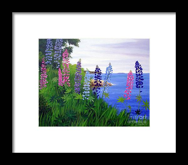 Wildflowers Framed Print featuring the painting Maine Bay Lupine Flowers by Laura Tasheiko