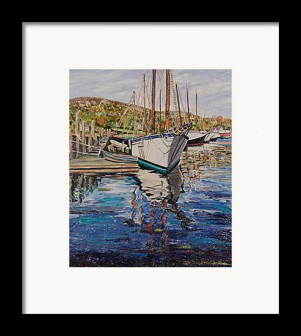 Maine Framed Print featuring the painting Maine Coast Boat Reflections by Richard Nowak