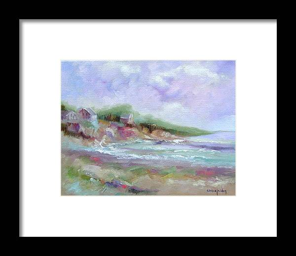 Maine Coastline Framed Print featuring the painting Maine Coastline by Ginger Concepcion