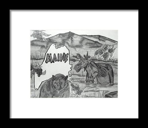 Collage Framed Print featuring the drawing Maine by Katina Cote