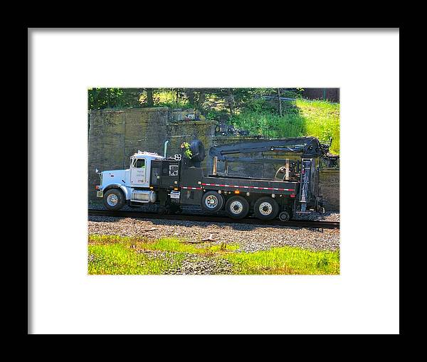 This Is A Maintenance Truck By Progress Rail On The Csx Line By West Point Military Academy Framed Print featuring the photograph Maintenance Truck by William Rogers