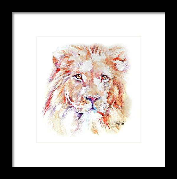 Africa Framed Print featuring the painting Majestic African Lion by Stephie Butler