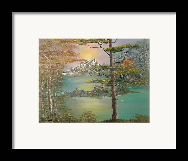 Landscape Framed Print featuring the painting Majestic Cove by Mikki Alhart