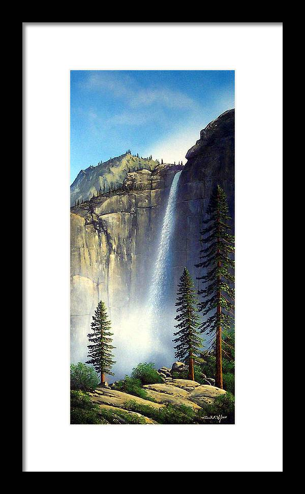 Landscape Framed Print featuring the painting Majestic Falls by Frank Wilson