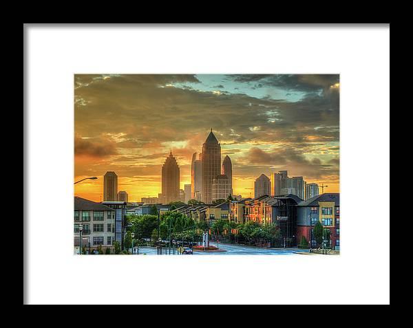 Reid Callaway Midtown Atlanta Framed Print featuring the photograph Majestic Gold Midtown Atlantic-station Atlanta Sunrise Art by Reid Callaway