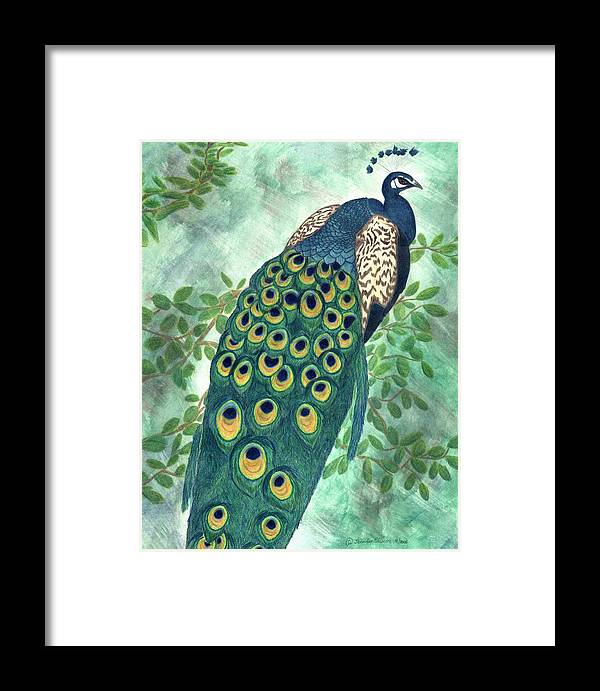 Peacock Framed Print featuring the drawing Majestic by Jennifer Skalecke