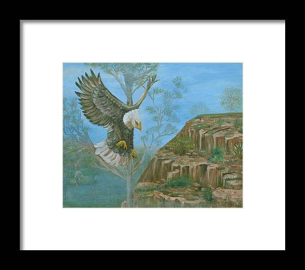 Eagle Framed Print featuring the painting Majestic Warrior by Mikki Alhart