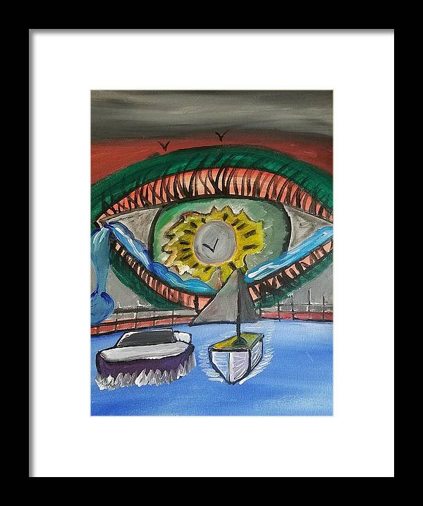 Eye Framed Print featuring the painting Majestic Waterfall by Elena Dyas