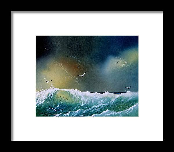 Water Framed Print featuring the painting Majestic Wave by Don Griffiths