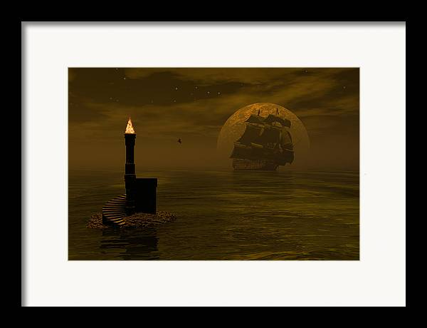Windjammer Framed Print featuring the digital art Make For The Light by Claude McCoy