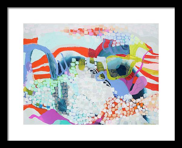 Abstract Framed Print featuring the painting Make Some Noise by Claire Desjardins