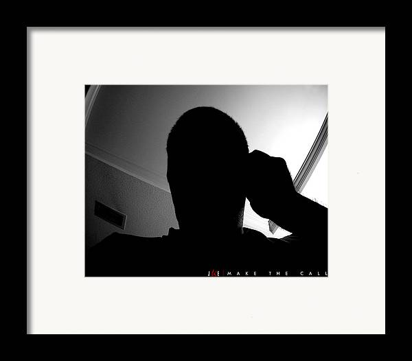 Black And White Framed Print featuring the photograph Make The Call by Jonathan Ellis Keys