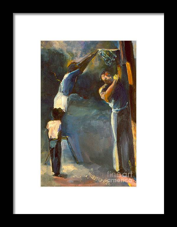#oil Painting# Framed Print featuring the painting Makin Basketball by Daun Soden-Greene