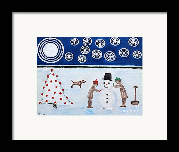 Snowman Framed Print featuring the painting Making A Snowman At Christmas by Patrick J Murphy