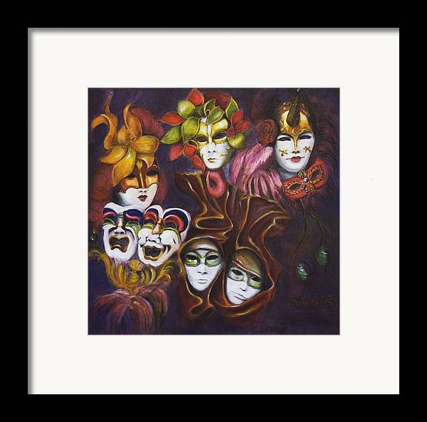 Masks Framed Print featuring the painting Making Faces I by Nik Helbig